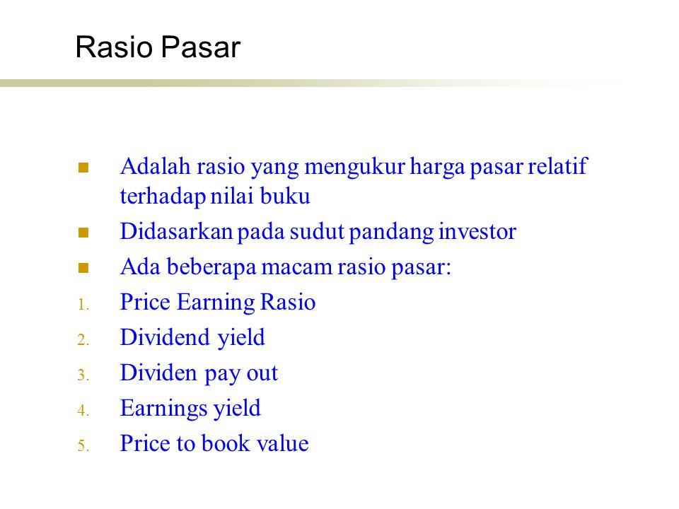 Rasio Pasar Adalah rasio yang mengukur harga pasar relatif terhadap nilai buku Didasarkan pada sudut pandang investor Ada beberapa macam rasio pasar: