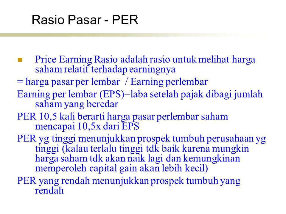 Rasio Pasar - PER Price Earning Rasio adalah rasio untuk melihat harga saham relatif terhadap earningnya = harga pasar per lembar / Earning perlembar