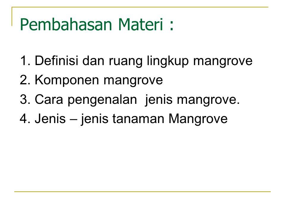1. Definisi dan ruang lingkup mangrove 2. Komponen mangrove 3. Cara pengenalan jenis mangrove. 4. Jenis – jenis tanaman Mangrove Pembahasan Materi :