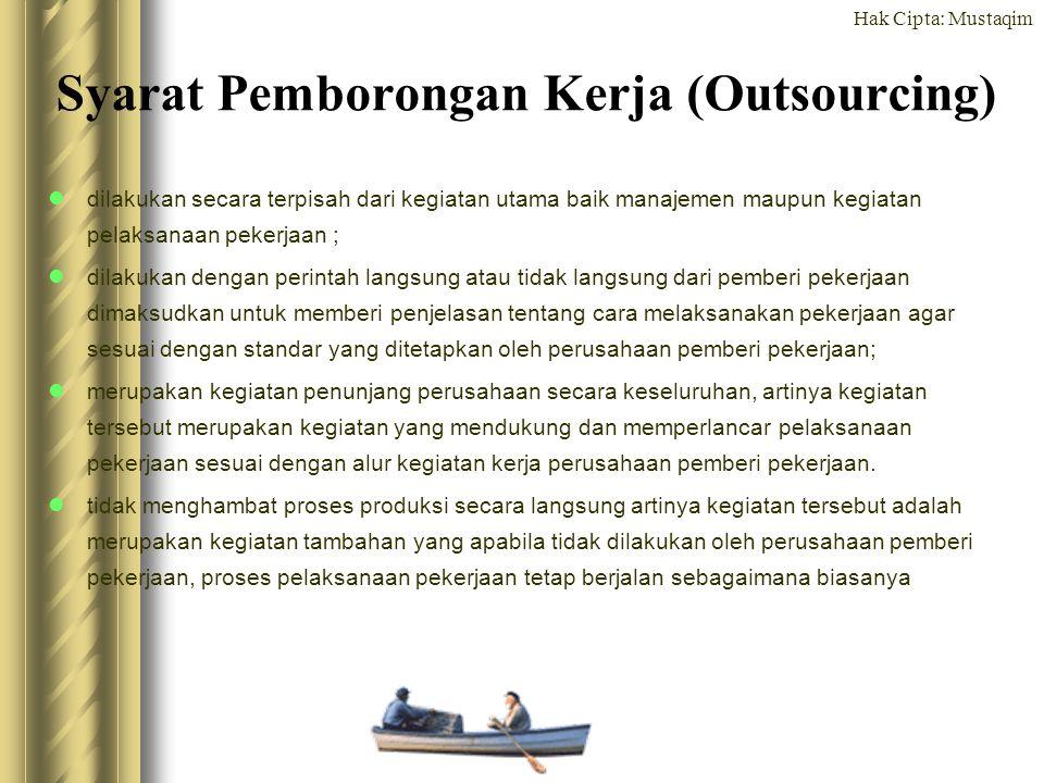 Hak Cipta: Mustaqim Syarat Pemborongan Kerja (Outsourcing) dilakukan secara terpisah dari kegiatan utama baik manajemen maupun kegiatan pelaksanaan pe