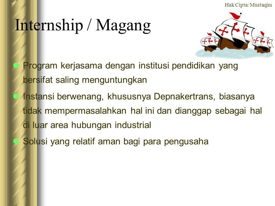 Hak Cipta: Mustaqim Internship / Magang Program kerjasama dengan institusi pendidikan yang bersifat saling menguntungkan Instansi berwenang, khususnya