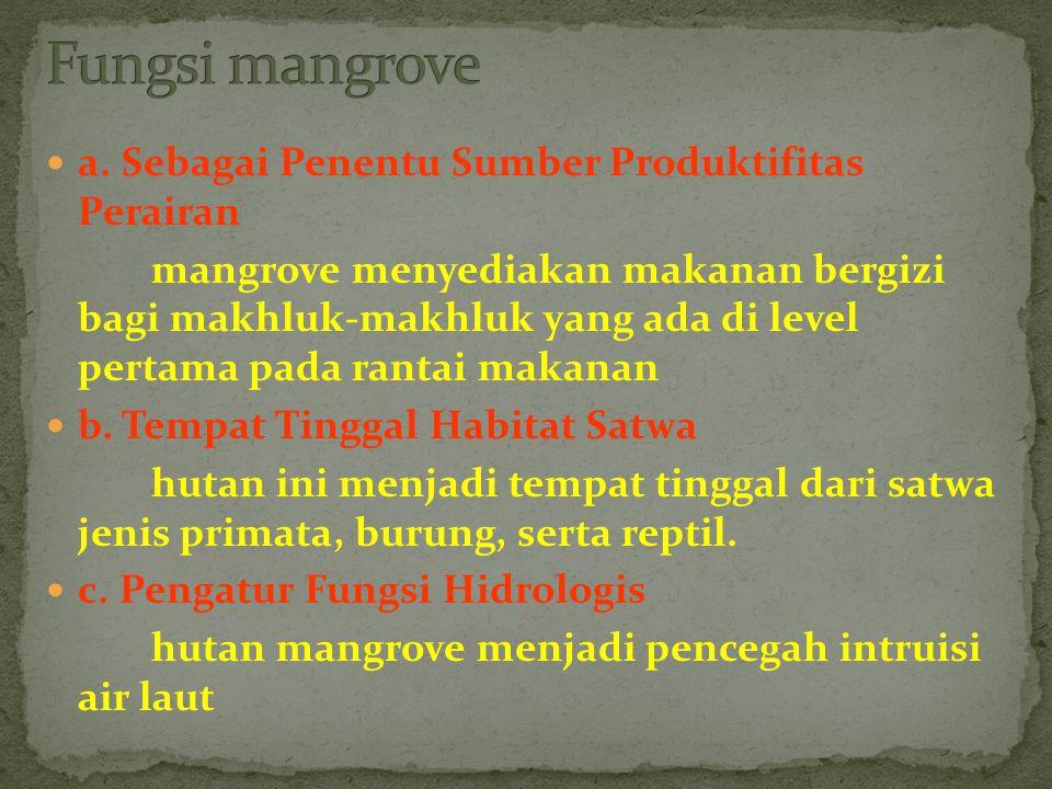 a. Sebagai Penentu Sumber Produktifitas Perairan mangrove menyediakan makanan bergizi bagi makhluk-makhluk yang ada di level pertama pada rantai makan