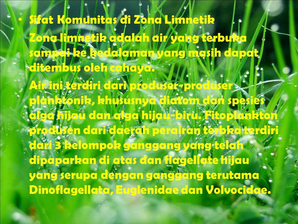 Sifat Komunitas di Zona Limnetik Zona limnetik adalah air yang terbuka sampai ke kedalaman yang masih dapat ditembus oleh cahaya. Air ini terdiri dari