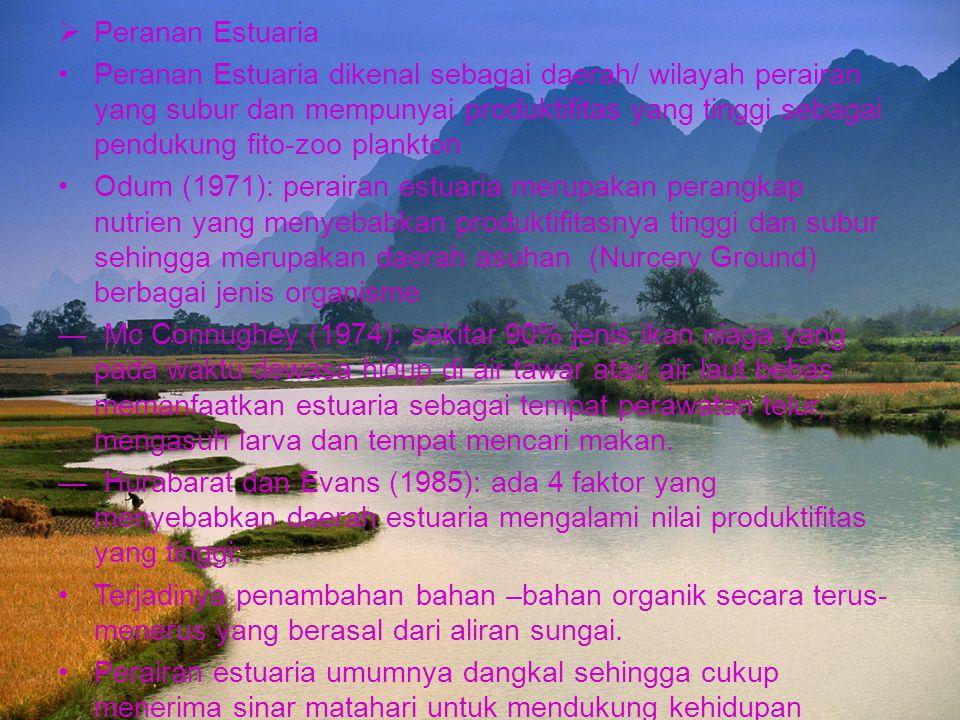  Peranan Estuaria Peranan Estuaria dikenal sebagai daerah/ wilayah perairan yang subur dan mempunyai produktifitas yang tinggi sebagai pendukung fito