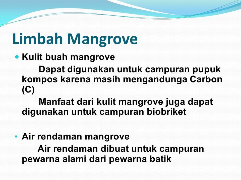 Limbah Mangrove Kulit buah mangrove Dapat digunakan untuk campuran pupuk kompos karena masih mengandunga Carbon (C) Manfaat dari kulit mangrove juga d
