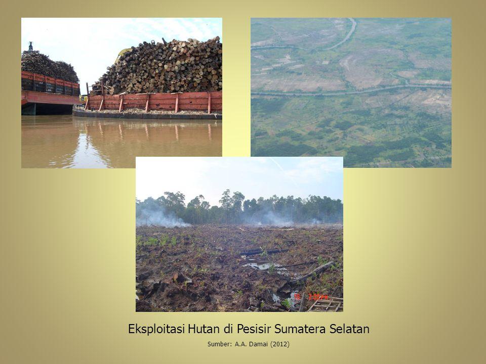 Eksploitasi Hutan di Pesisir Sumatera Selatan Sumber: A.A. Damai (2012)