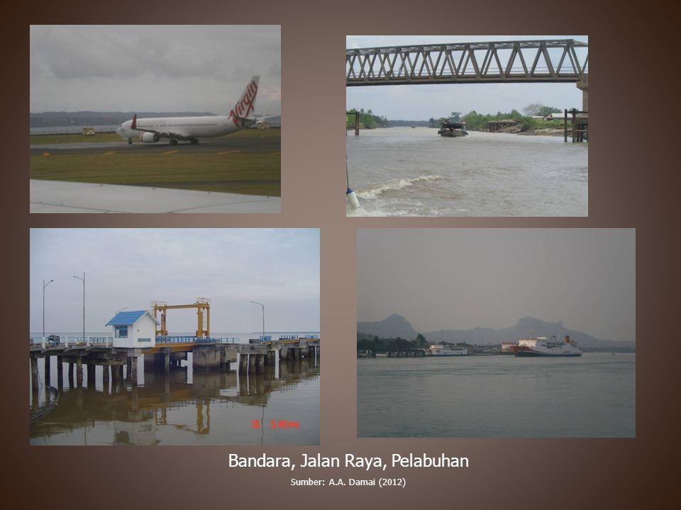 Bandara, Jalan Raya, Pelabuhan Sumber: A.A. Damai (2012)