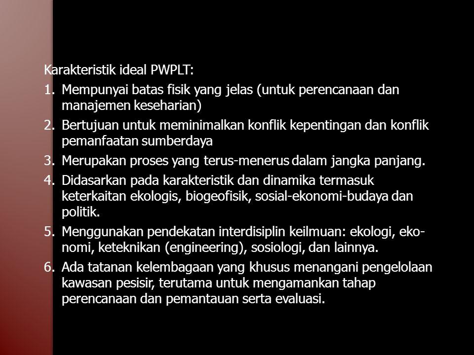 Karakteristik ideal PWPLT: 1.Mempunyai batas fisik yang jelas (untuk perencanaan dan manajemen keseharian) 2.Bertujuan untuk meminimalkan konflik kepe