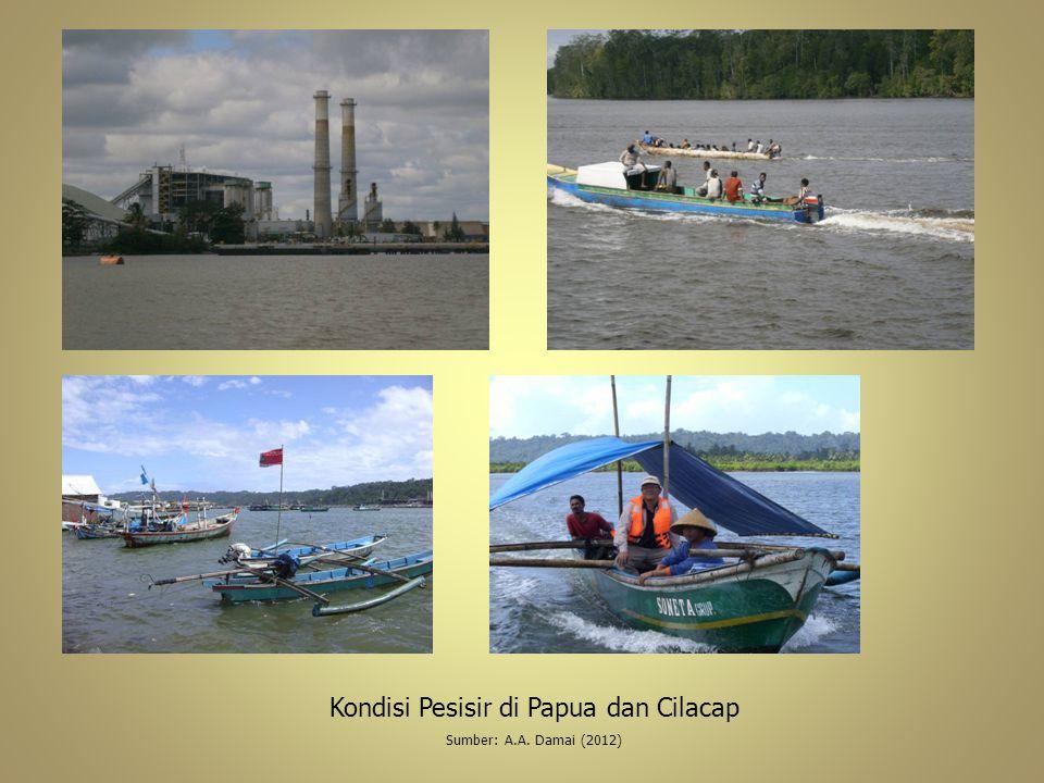 Kondisi Pesisir di Papua dan Cilacap Sumber: A.A. Damai (2012)