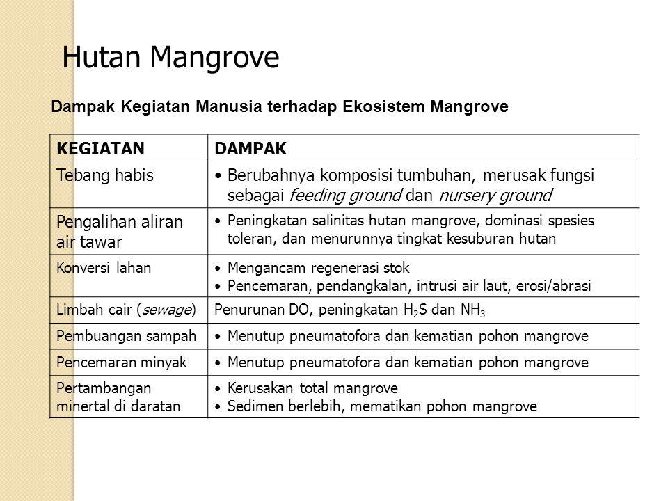 Hutan Mangrove KEGIATANDAMPAK Tebang habisBerubahnya komposisi tumbuhan, merusak fungsi sebagai feeding ground dan nursery ground Pengalihan aliran ai