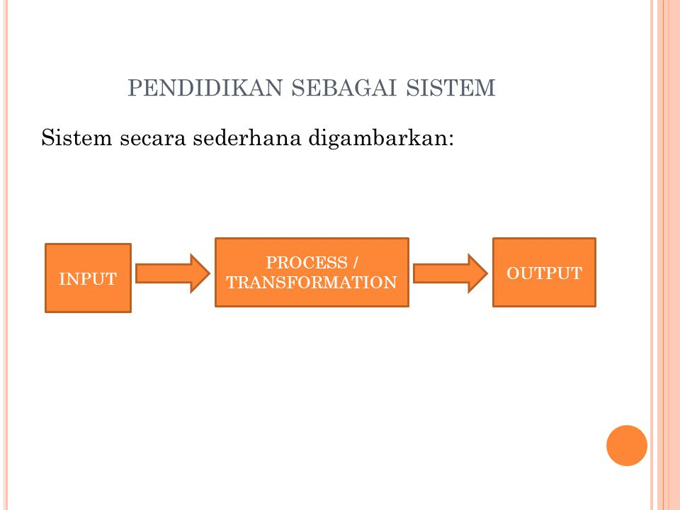 PENDIDIKAN SEBAGAI SISTEM Sistem secara sederhana digambarkan: INPUT PROCESS / TRANSFORMATION OUTPUT