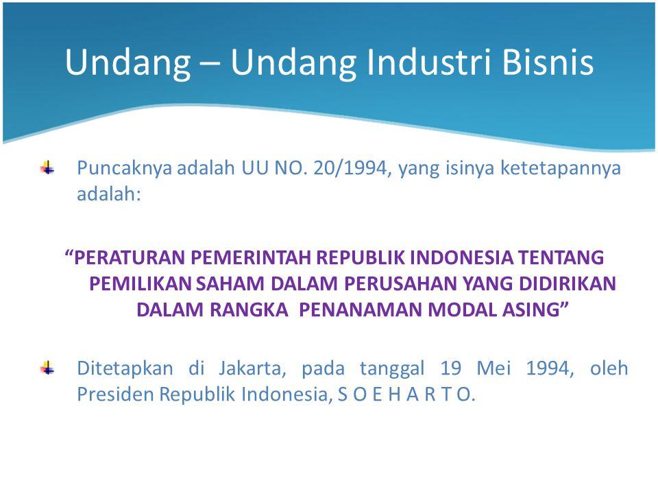 Undang – Undang Industri Bisnis Puncaknya adalah UU NO.