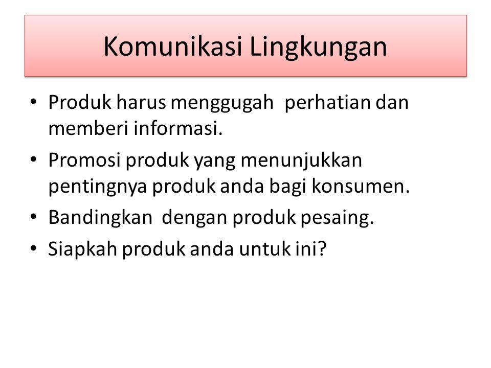 Komunikasi Lingkungan Produk harus menggugah perhatian dan memberi informasi.