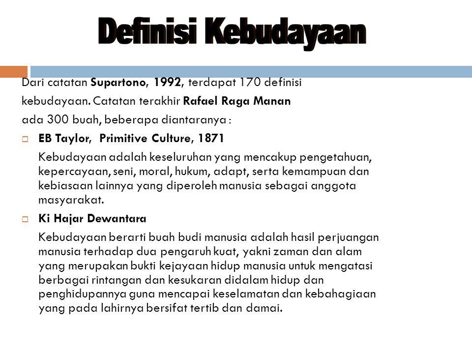 Dari catatan Supartono, 1992, terdapat 170 definisi kebudayaan.