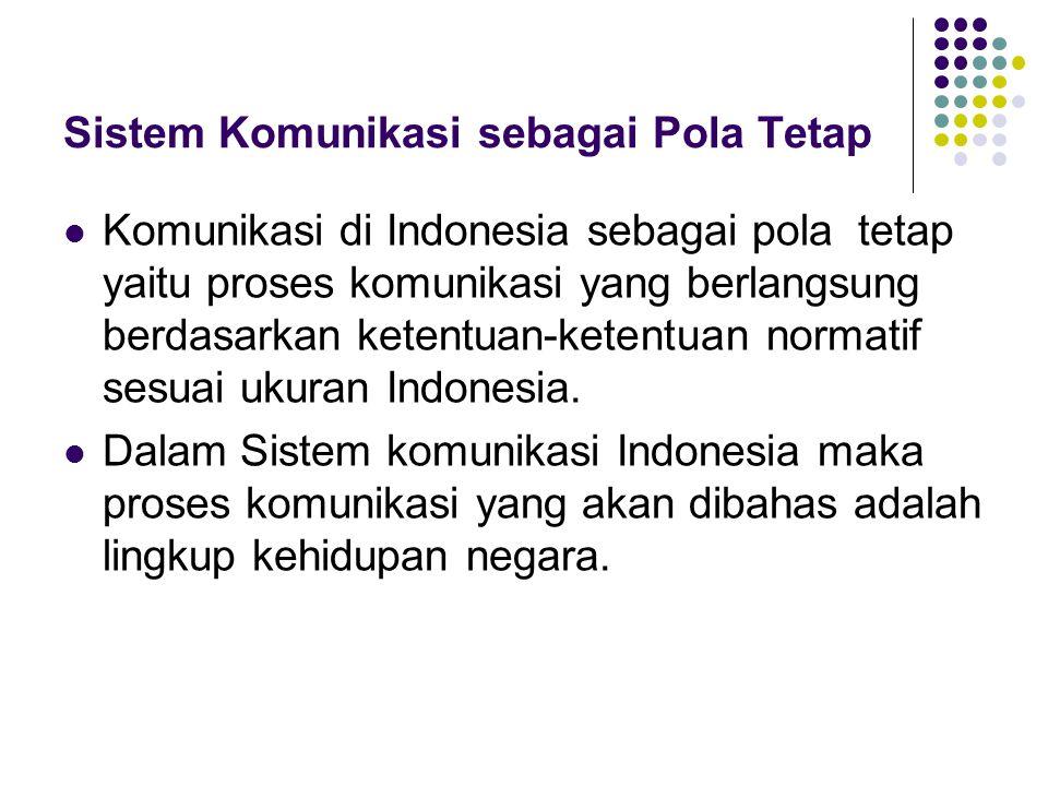 Sistem Komunikasi sebagai Pola Tetap Komunikasi di Indonesia sebagai pola tetap yaitu proses komunikasi yang berlangsung berdasarkan ketentuan-ketentuan normatif sesuai ukuran Indonesia.