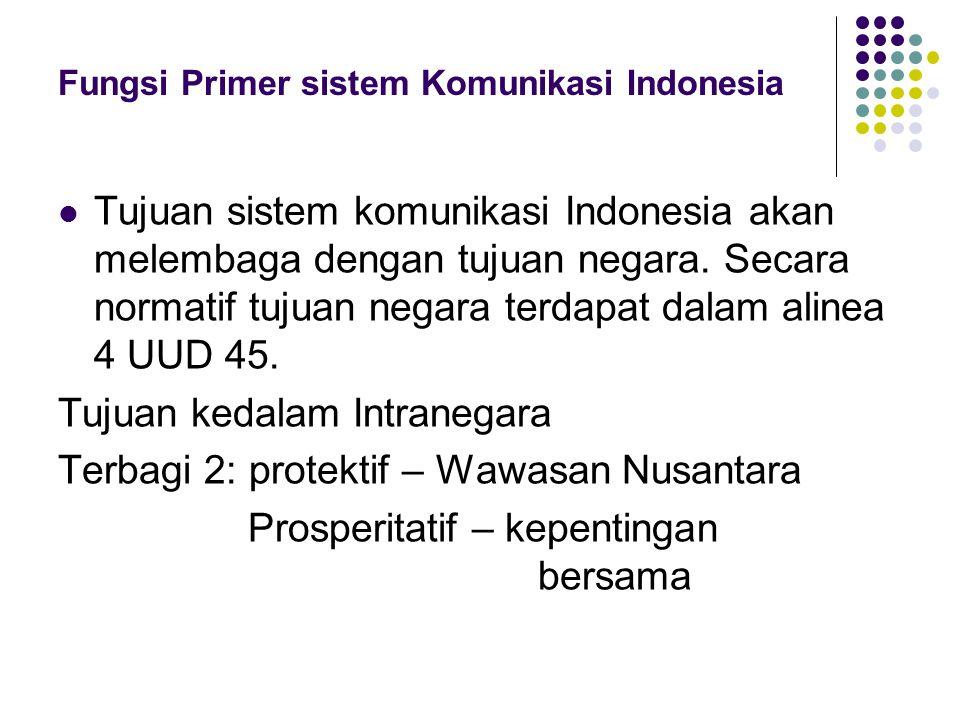 Fungsi Primer sistem Komunikasi Indonesia Tujuan sistem komunikasi Indonesia akan melembaga dengan tujuan negara.