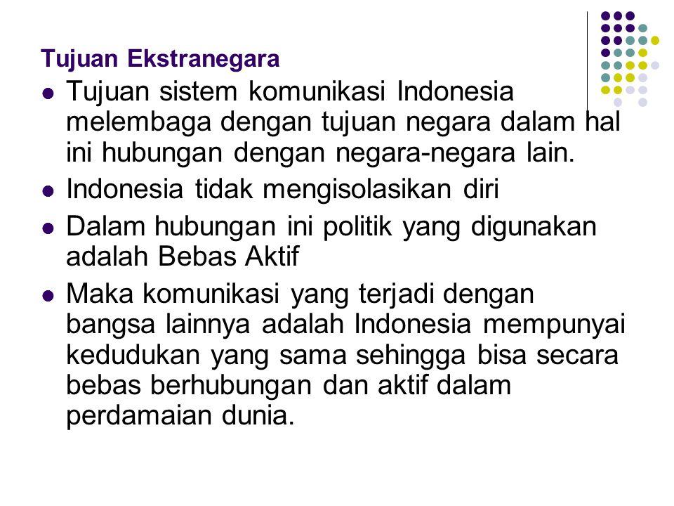 Tujuan Ekstranegara Tujuan sistem komunikasi Indonesia melembaga dengan tujuan negara dalam hal ini hubungan dengan negara-negara lain.