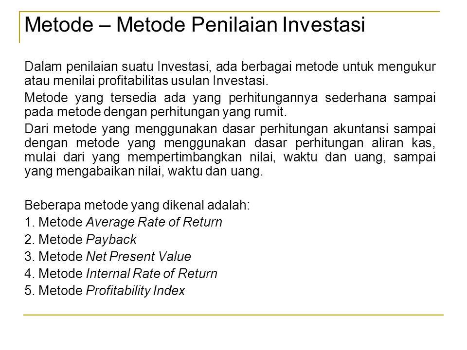 Metode – Metode Penilaian Investasi Dalam penilaian suatu Investasi, ada berbagai metode untuk mengukur atau menilai profitabilitas usulan Investasi.