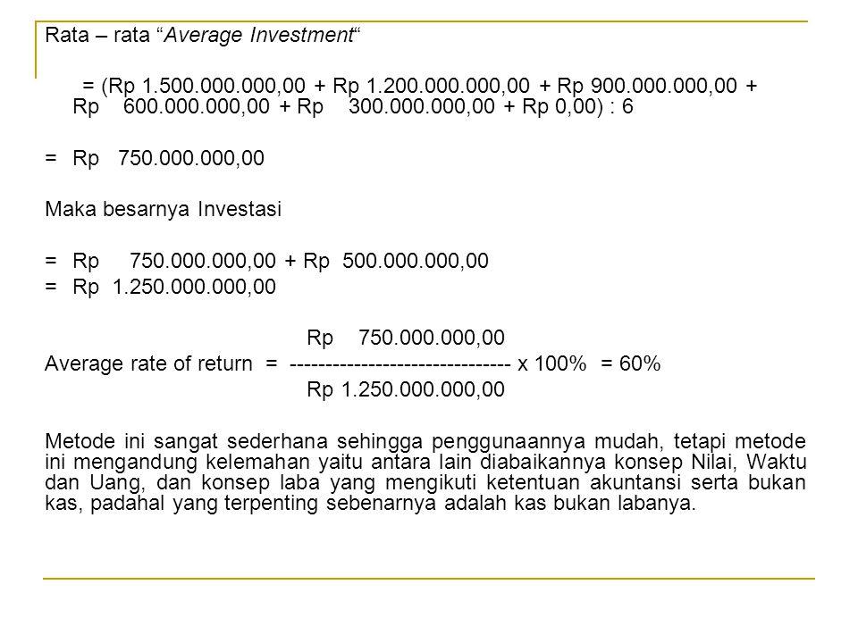 """Rata – rata """"Average Investment"""" = (Rp 1.500.000.000,00 + Rp 1.200.000.000,00 + Rp 900.000.000,00 + Rp 600.000.000,00 + Rp 300.000.000,00 + Rp 0,00) :"""