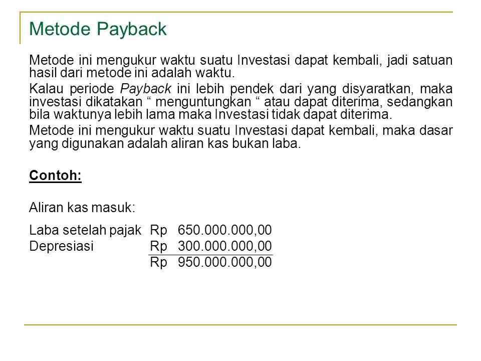 Metode Payback Metode ini mengukur waktu suatu Investasi dapat kembali, jadi satuan hasil dari metode ini adalah waktu. Kalau periode Payback ini lebi