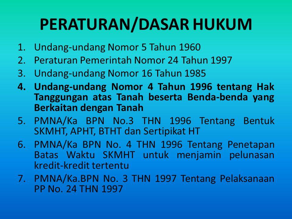 PERATURAN/DASAR HUKUM 1.Undang-undang Nomor 5 Tahun 1960 2.Peraturan Pemerintah Nomor 24 Tahun 1997 3.Undang-undang Nomor 16 Tahun 1985 4.Undang-undan