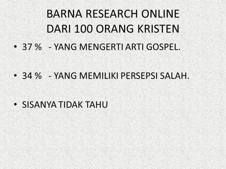 BARNA RESEARCH ONLINE DARI 100 ORANG KRISTEN 37 % - YANG MENGERTI ARTI GOSPEL. 34 % - YANG MEMILIKI PERSEPSI SALAH. SISANYA TIDAK TAHU