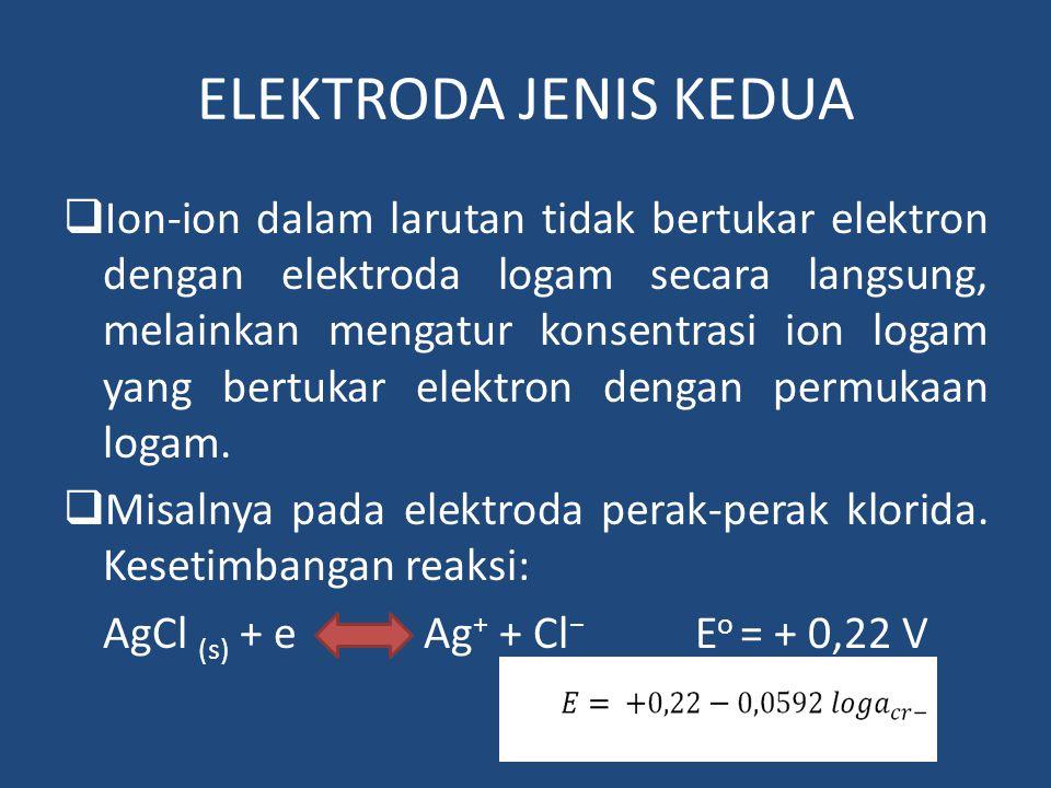 ELEKTRODA JENIS KEDUA  Ion-ion dalam larutan tidak bertukar elektron dengan elektroda logam secara langsung, melainkan mengatur konsentrasi ion logam