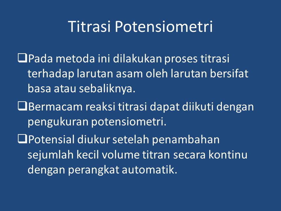 Titrasi Potensiometri  Pada metoda ini dilakukan proses titrasi terhadap larutan asam oleh larutan bersifat basa atau sebaliknya.  Bermacam reaksi t