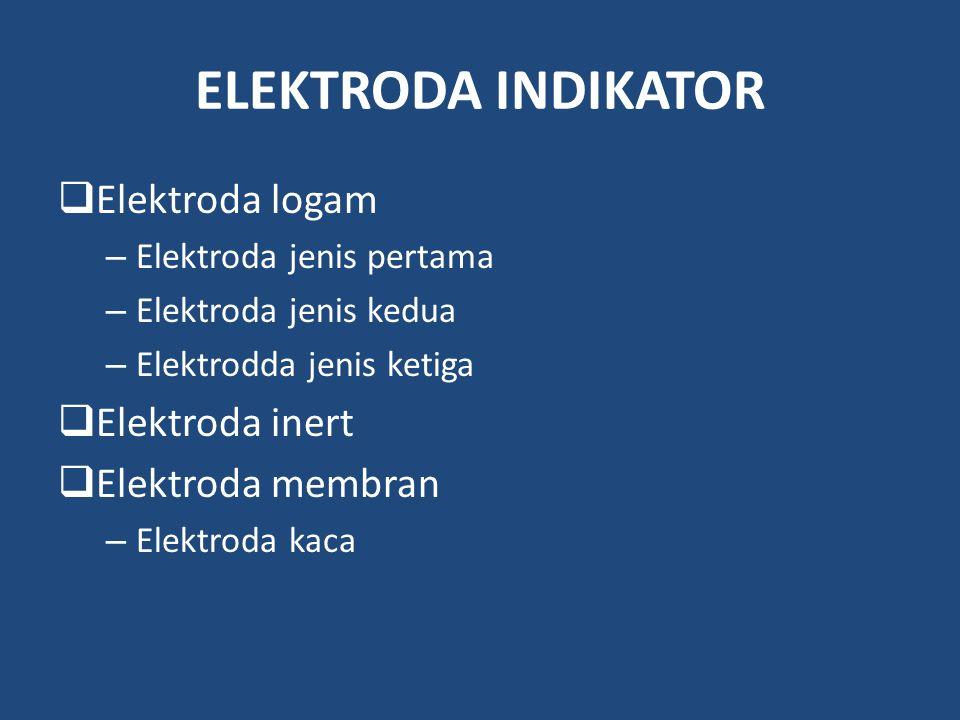 ELEKTRODA INDIKATOR  Elektroda logam – Elektroda jenis pertama – Elektroda jenis kedua – Elektrodda jenis ketiga  Elektroda inert  Elektroda membra
