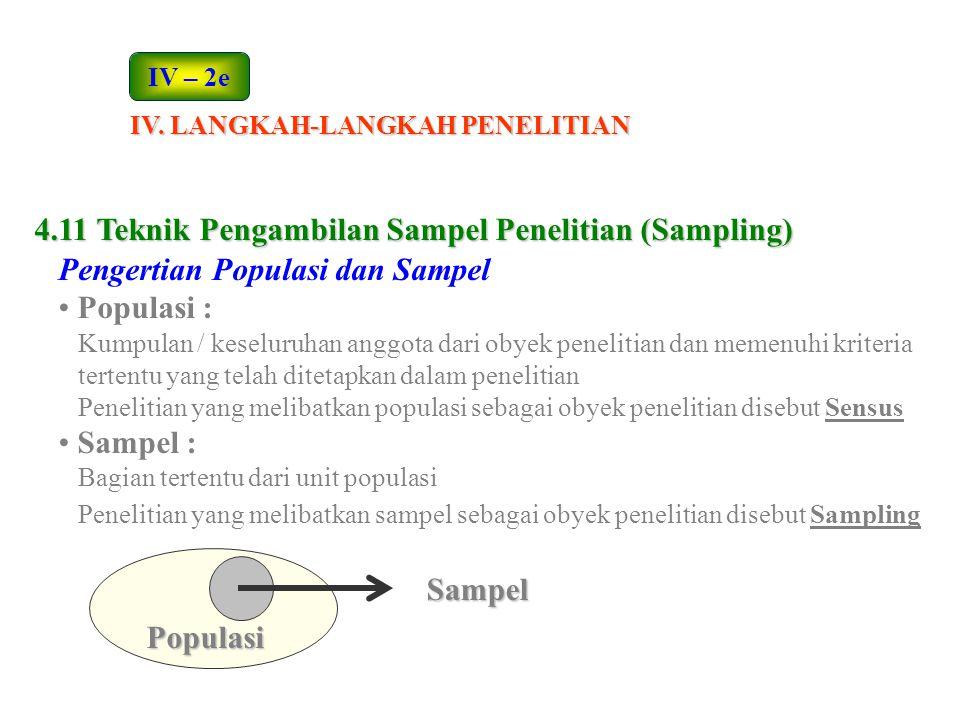 4.11 Teknik Pengambilan Sampel Penelitian (Sampling) Pengertian Populasi dan Sampel Populasi : Kumpulan / keseluruhan anggota dari obyek penelitian da