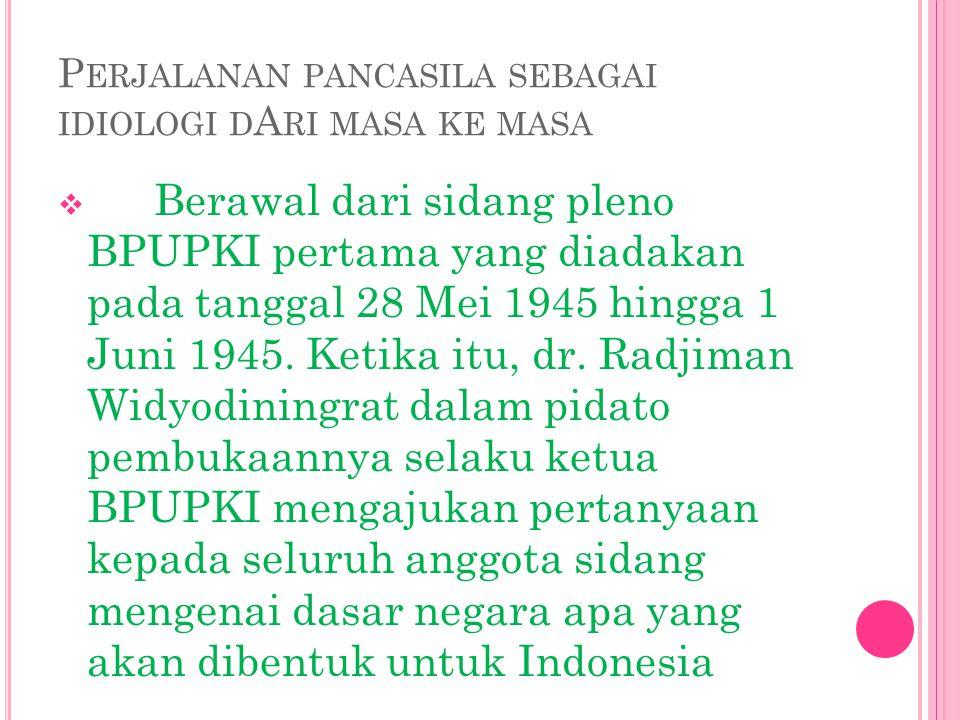  Pada tanggal 1 Juni 1945, secara eksplisit Ir.