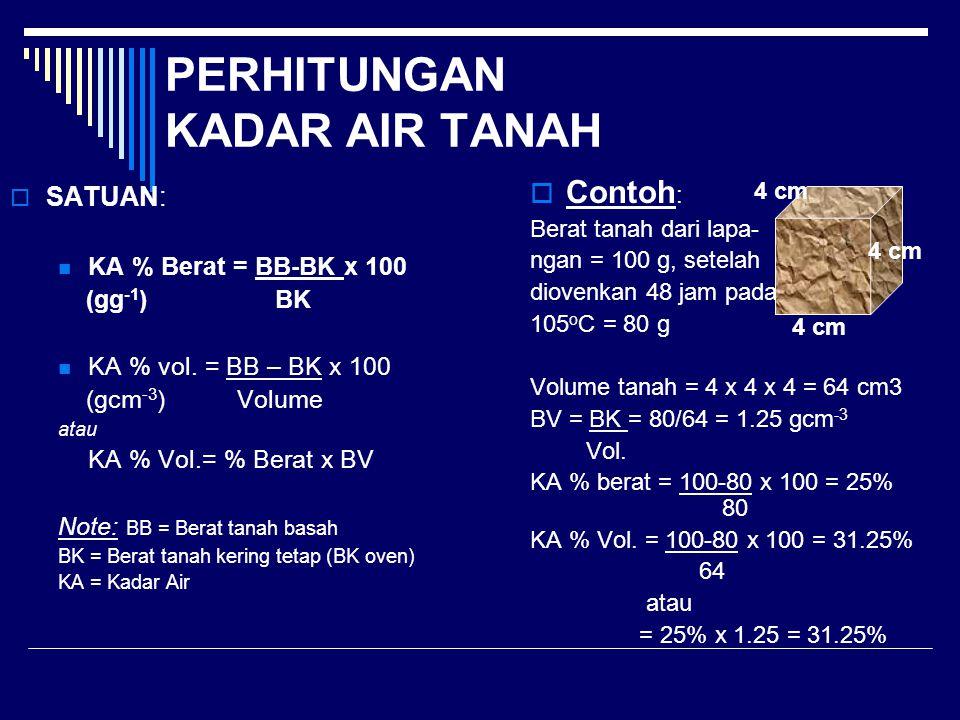 PERHITUNGAN KADAR AIR TANAH  SATUAN: KA % Berat = BB-BK x 100 (gg -1 ) BK KA % vol. = BB – BK x 100 (gcm -3 ) Volume atau KA % Vol.= % Berat x BV Not