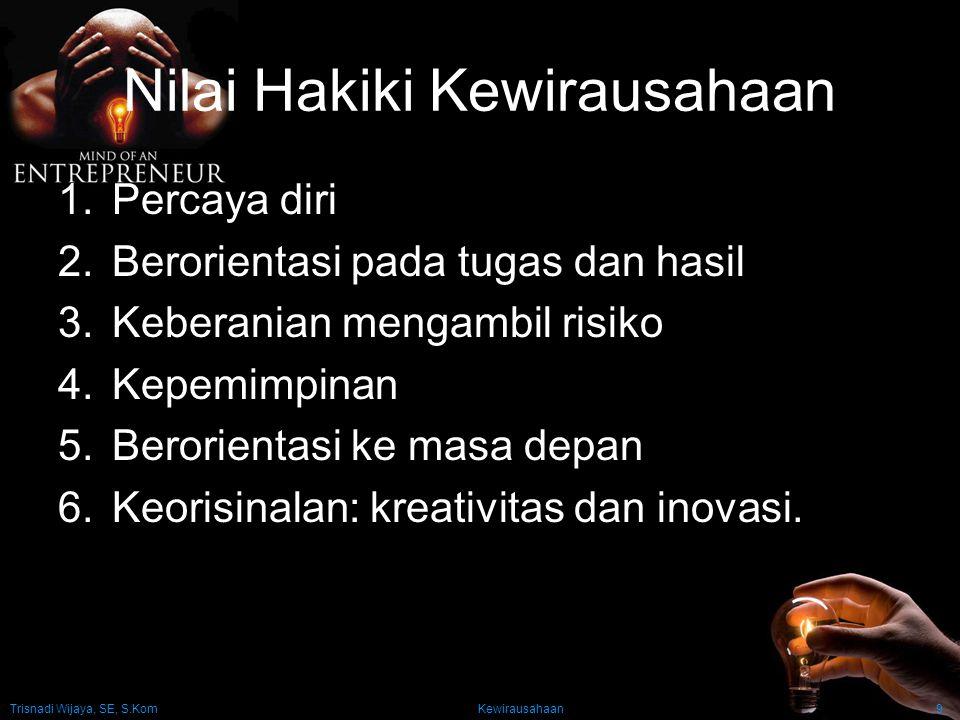 Trisnadi Wijaya, SE, S.Kom Kewirausahaan9 Nilai Hakiki Kewirausahaan 1.Percaya diri 2.Berorientasi pada tugas dan hasil 3.Keberanian mengambil risiko 4.Kepemimpinan 5.Berorientasi ke masa depan 6.Keorisinalan: kreativitas dan inovasi.