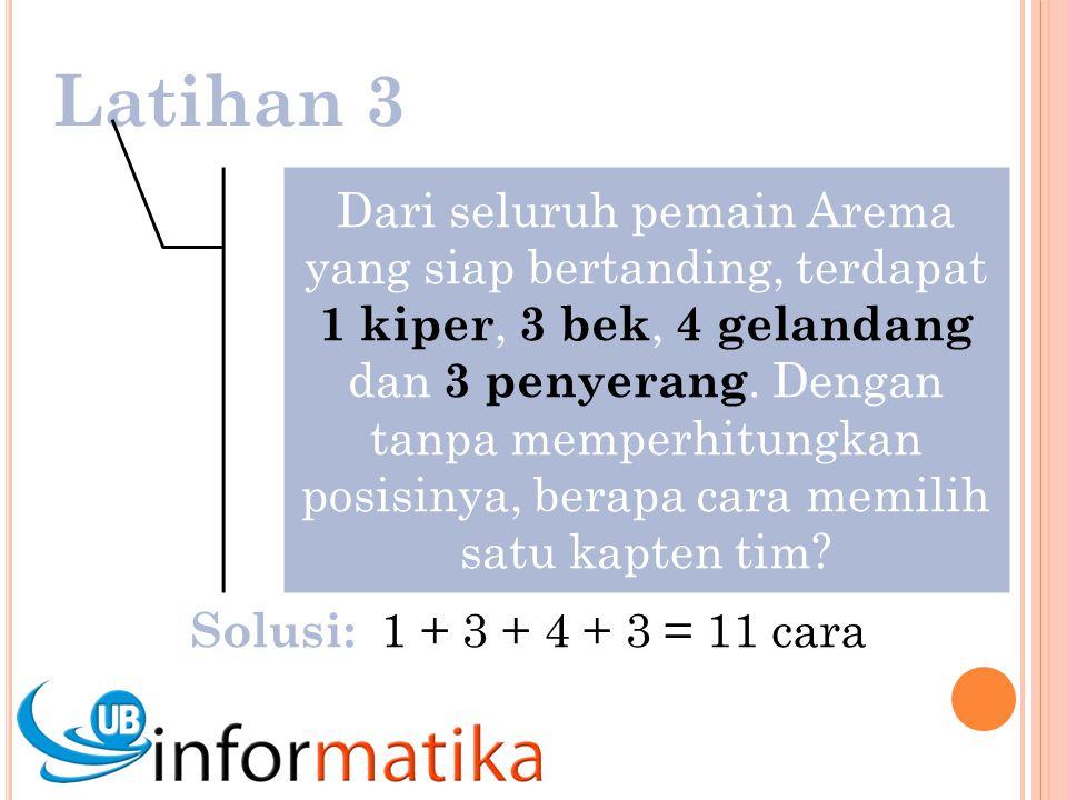 Latihan 3 Dari seluruh pemain Arema yang siap bertanding, terdapat 1 kiper, 3 bek, 4 gelandang dan 3 penyerang.