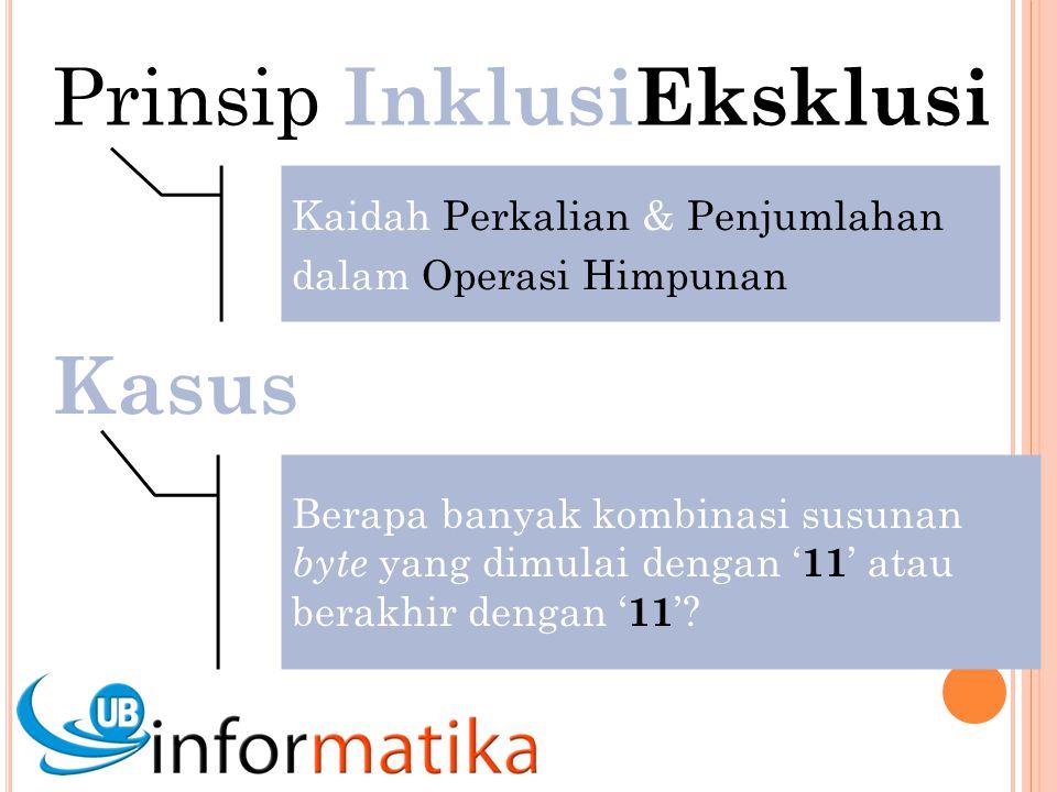Prinsip InklusiEksklusi Kaidah Perkalian & Penjumlahan dalam Operasi Himpunan Kasus Berapa banyak kombinasi susunan byte yang dimulai dengan ' 11 ' atau berakhir dengan ' 11 '?