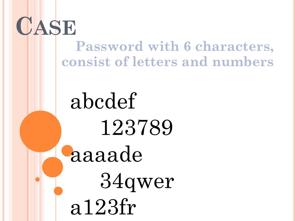 C ASE Password with 6 characters, consist of letters and numbers abcdef 123789 aaaade 34qwer a123fr............