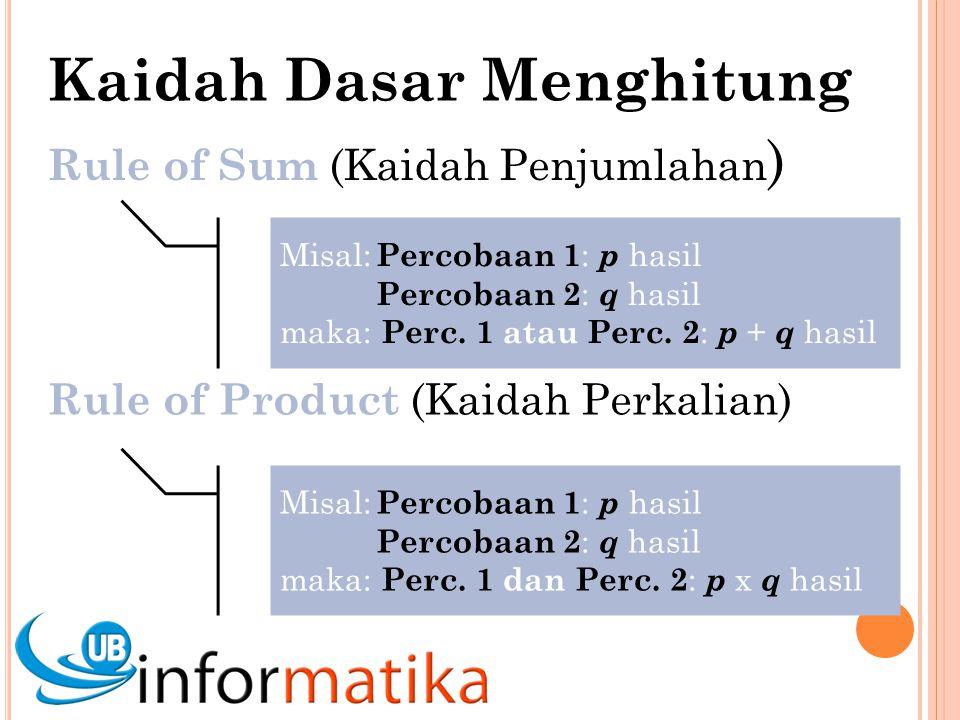 Rule of Sum (Kaidah Penjumlahan ) Misal: Percobaan 1 : p hasil Percobaan 2 : q hasil maka: Perc.