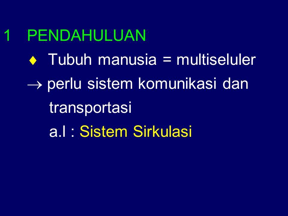 1PENDAHULUAN  Tubuh manusia = multiseluler  perlu sistem komunikasi dan transportasi a.l : Sistem Sirkulasi