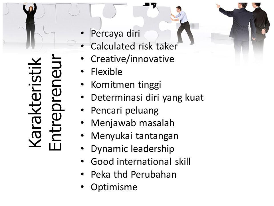 Karakteristik Entrepreneur Percaya diri Calculated risk taker Creative/innovative Flexible Komitmen tinggi Determinasi diri yang kuat Pencari peluang
