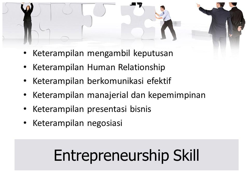 Entrepreneurship Skill Keterampilan mengambil keputusan Keterampilan Human Relationship Keterampilan berkomunikasi efektif Keterampilan manajerial dan