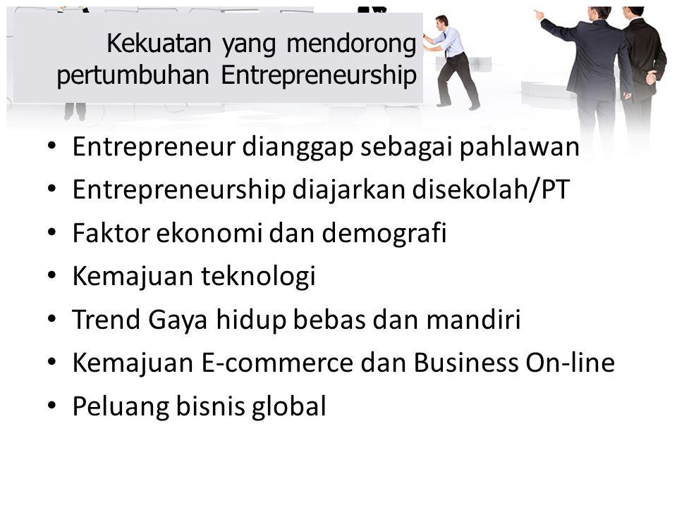Kekuatan yang mendorong pertumbuhan Entrepreneurship Entrepreneur dianggap sebagai pahlawan Entrepreneurship diajarkan disekolah/PT Faktor ekonomi dan