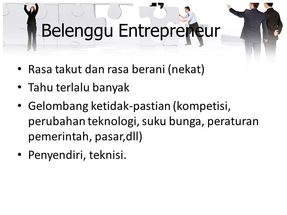 Belenggu Entrepreneur Rasa takut dan rasa berani (nekat) Tahu terlalu banyak Gelombang ketidak-pastian (kompetisi, perubahan teknologi, suku bunga, pe