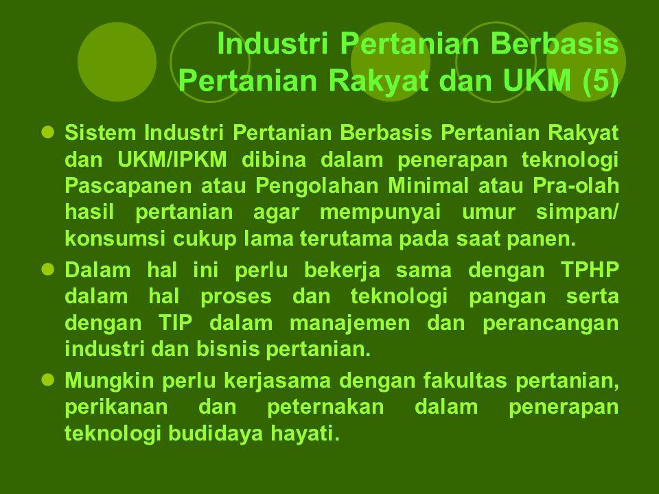 Industri Pertanian Berbasis Pertanian Rakyat dan UKM (5) Sistem Industri Pertanian Berbasis Pertanian Rakyat dan UKM/IPKM dibina dalam penerapan tekno