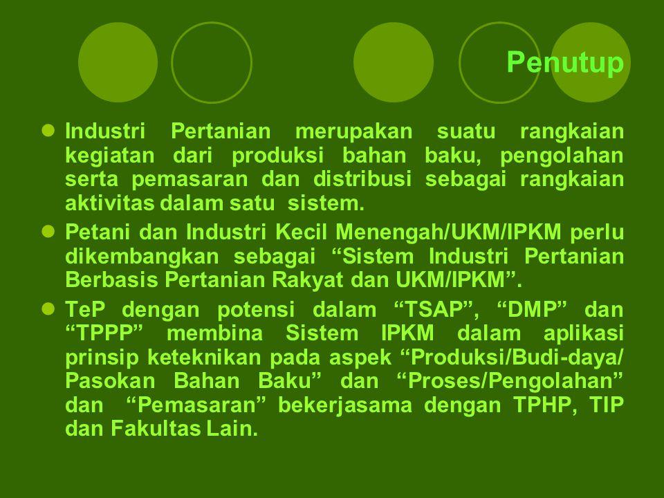 Penutup Industri Pertanian merupakan suatu rangkaian kegiatan dari produksi bahan baku, pengolahan serta pemasaran dan distribusi sebagai rangkaian ak