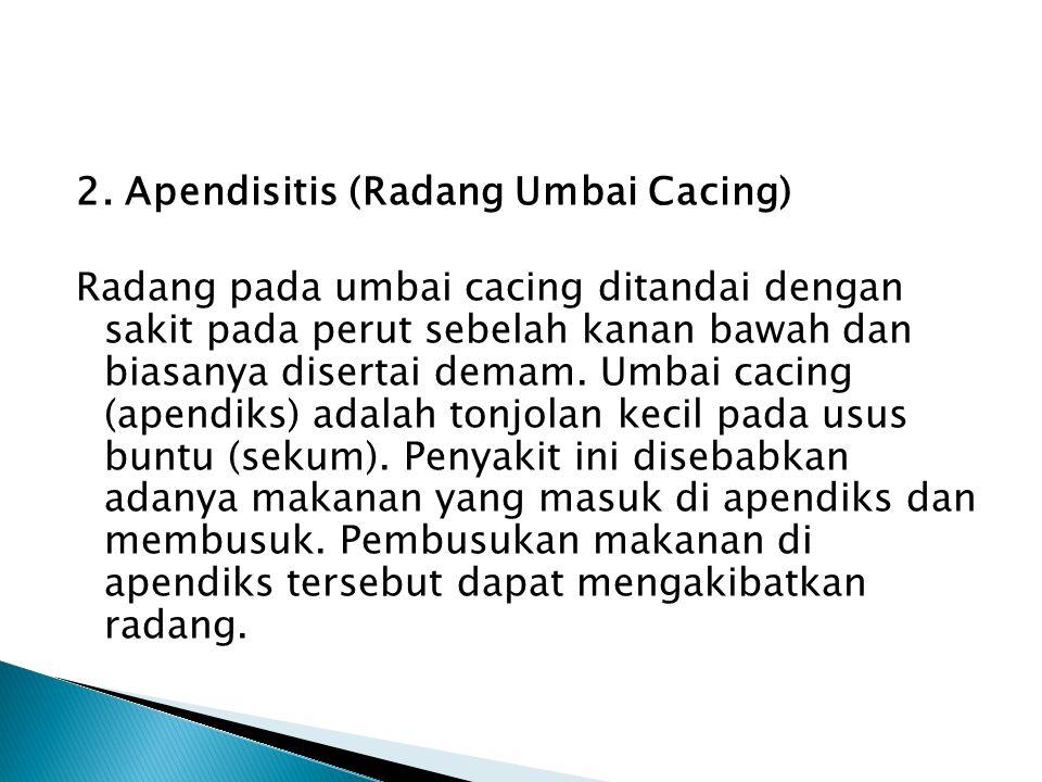 2. Apendisitis (Radang Umbai Cacing) Radang pada umbai cacing ditandai dengan sakit pada perut sebelah kanan bawah dan biasanya disertai demam. Umbai
