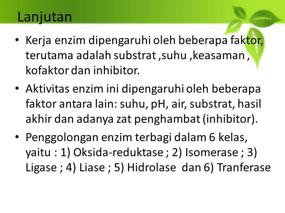 Lanjutan Kerja enzim dipengaruhi oleh beberapa faktor, terutama adalah substrat,suhu,keasaman, kofaktor dan inhibitor. Aktivitas enzim ini dipengaruhi