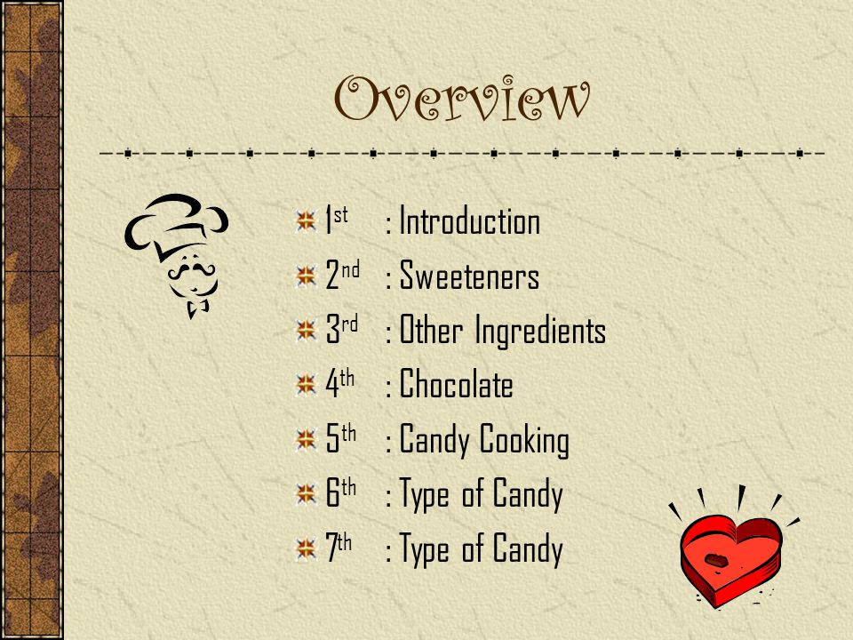 Overview 1 st : Introduction 2 nd : Sweeteners 3 rd : Other Ingredients 4 th : Chocolate 5 th : Candy Cooking 6 th : Type of Candy 7 th : Type of Candy