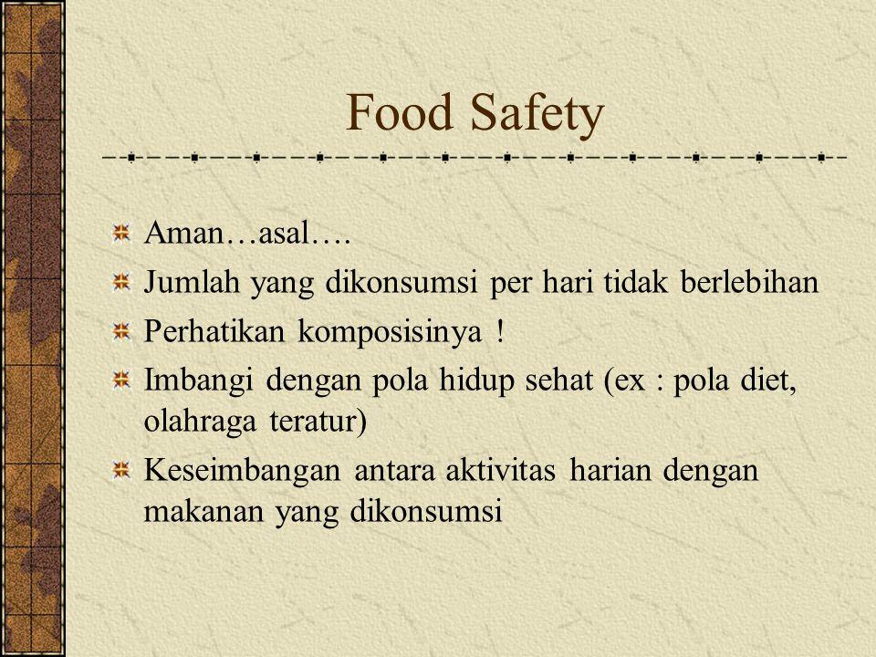 Food Safety Aman…asal…. Jumlah yang dikonsumsi per hari tidak berlebihan Perhatikan komposisinya ! Imbangi dengan pola hidup sehat (ex : pola diet, ol