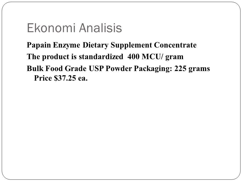 Ekonomi Analisis Papain Enzyme Dietary Supplement Concentrate The product is standardized 400 MCU/ gram Bulk Food Grade USP Powder Packaging: 225 grams Price $37.25 ea.