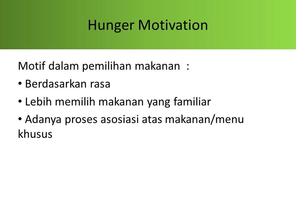 Hunger Motivation Motif dalam pemilihan makanan : Berdasarkan rasa Lebih memilih makanan yang familiar Adanya proses asosiasi atas makanan/menu khusus